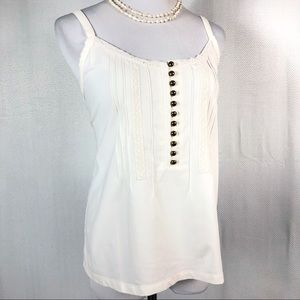 Jones New York Crochet Lace Tank with Gold Buttons